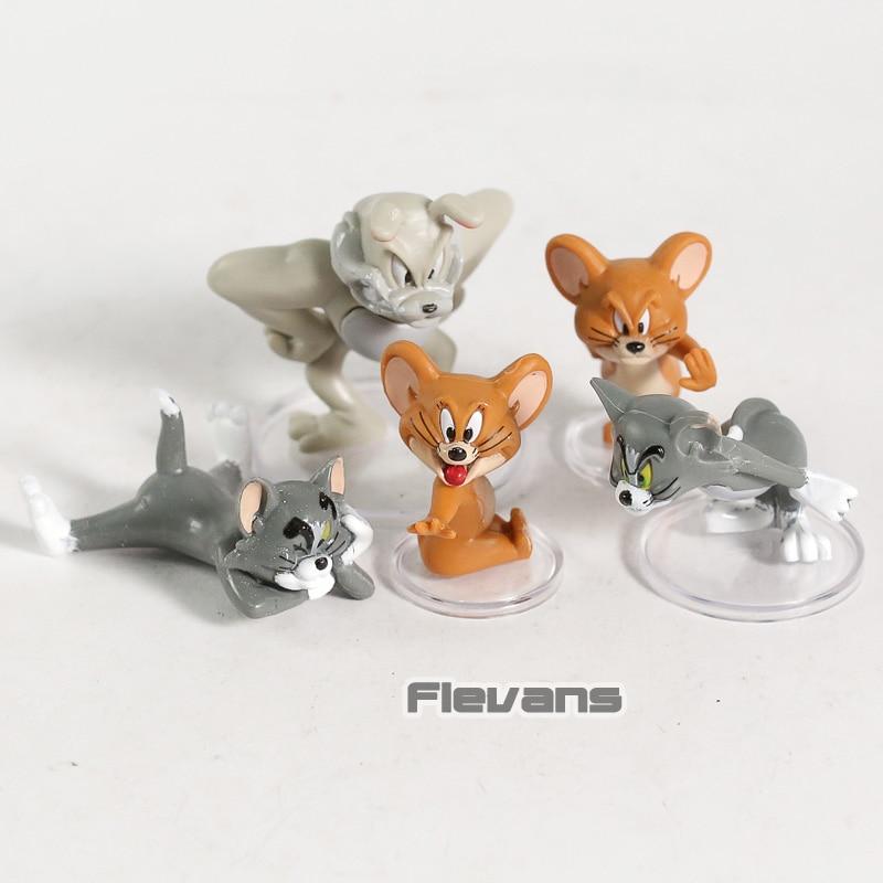 Cartoon Tom & Jerry Cat And Mouse Mini PVC Figures Kids Toys Dolls 5pcs/set