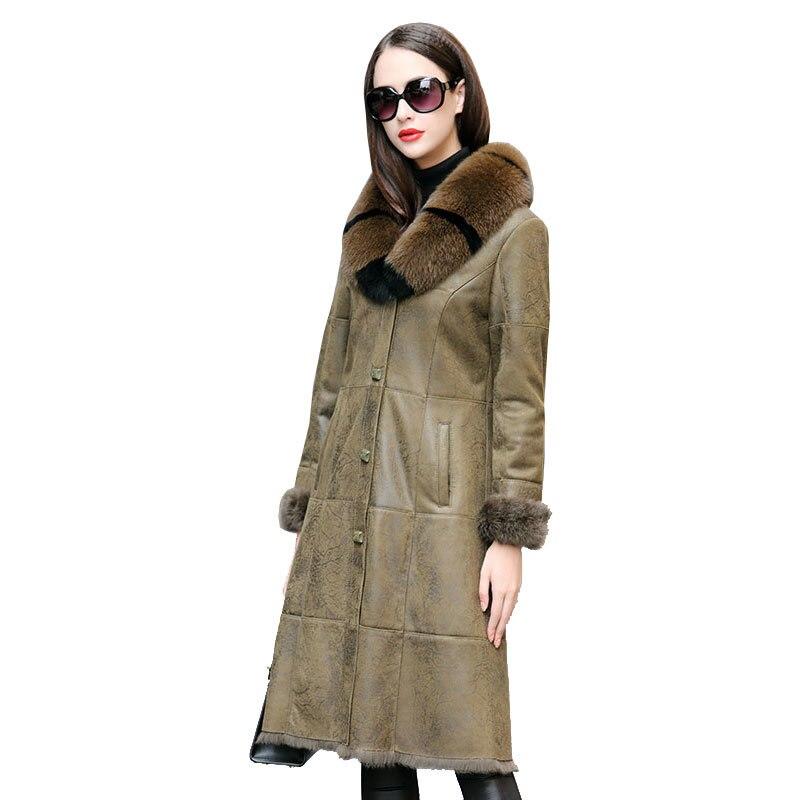 Coat Winter Women Double Faced Real Fur Coat Female Luxury Rabbit Fur Coat Women Fox Fur Collar Real Leather Jacket MY