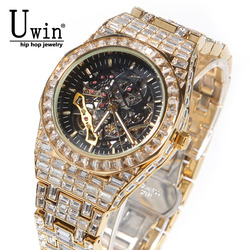 Uwin Fully Mechanical Watch Stainless Steel Waterproof Full Iced Out Minimalist Diamond Classic Designer Watches For Male