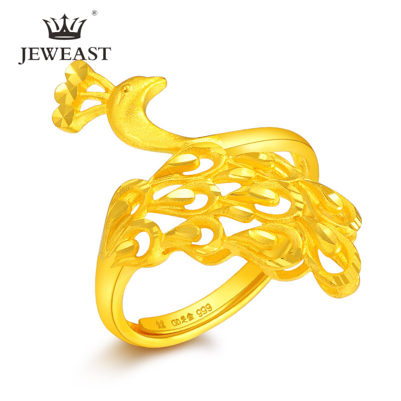 JLZB 24K Pure Gold Ring Real AU 999 Solid Gold Rings Elegant Shiny Beautiful Upscale Trendy Classic Jewelry Hot Sell New 2020