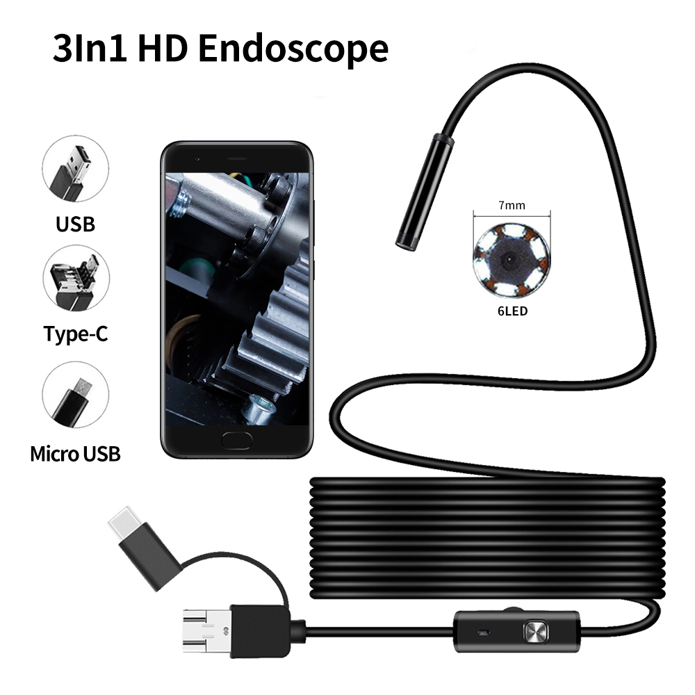 7MM Android Endoscope 3 In 1 USB/Micro USB/Type-C Borescope Inspection Camera Waterproof For Smartphone With OTG And UVC PC