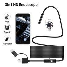 Endoscópio 7mm android 3 em 1 usb/micro, usb/tipo-c boroscópio câmera de inspeção à prova d' água para smartphone com otg e uvc pc