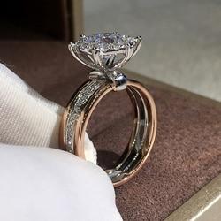 Huitan Klassieke 4 Klauwen Ontwerp Bridal Engagement Trouwringen Aaa Dazzling Zirconia Hot Koop Tijdloze Stijl Vrouwelijke Sieraden