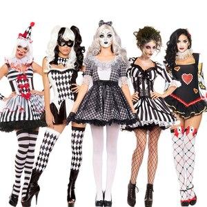 Halloween zombie role play a rainha do coração cosplay assustador traje palhaço horror noiva peruca fantasia vestido feminino festa de carnaval