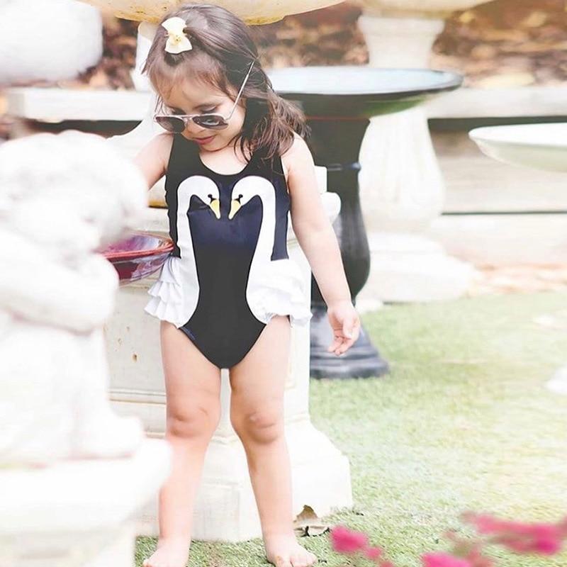 KID'S Swimwear GIRL'S Skirt Princess Baby Black And White Swan Swim Bathing Suit Girls One-piece Cute Little Swan Swimwear