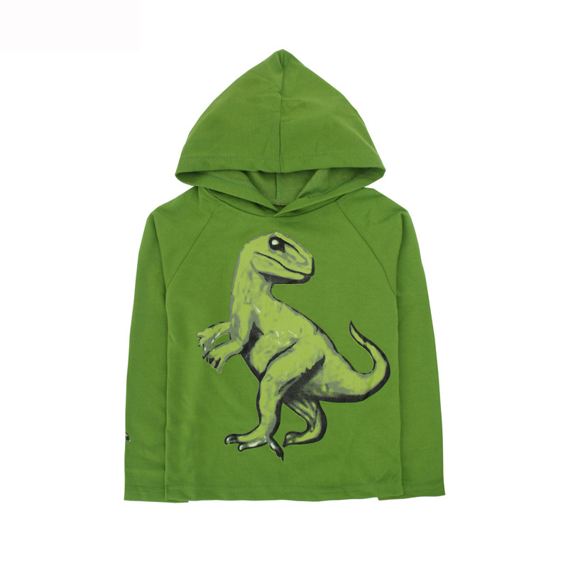 Image 2 - Kids Boys Dinosaurs T Shirt Spring and Autumn Children Hooded Long Sleeve Sweater Kids Top Clothes 100% Cotton Hoodie T shirtT-Shirts   -