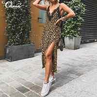 Celmia de talla grande verano leopardo estampado Midi Vestido Mujer Sexy sin mangas correas encaje vestido alto dividido elegante Sexy cuello en V Vestidos