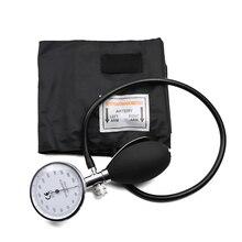 古典的な黒医療血圧計bpカフ腕単一チューブアネロイド血圧計ゲージ圧力計