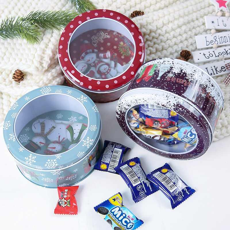 Christmas Printing Tin Box Cartoon Candy Box Rose Tea Pot Candy Cookie Box Party Gift Box Storage Case Random Color