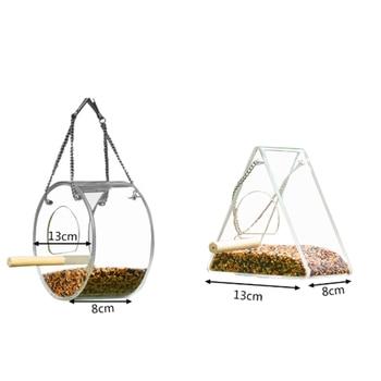 Acrylic Bird Feeder Food Box Pet Bird Cage House Anti-Scatter Parrot Feeder Stand Round Triangle Bird Feeder 3