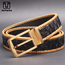 цена McParko Luxury PYTHON Belt Genuine Leather Belt Men Fashion Weaving Braide Design Snakeskin Jean's Waist Belts Strap Male Gift онлайн в 2017 году