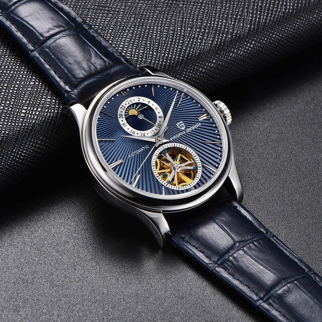 Reloj PAGANI DESIGN męski zegarek mechaniczny Tourbillon luksusowa marka odzieżowa skórzany męski sportowy automatyczny zegarek Relogio Masculino