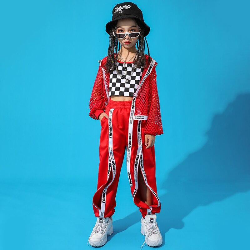 Red-Hip-Hop-Dance-Costume-Kids-Jazz-Dance-Clothing-Girls-Suit-Vest-Coat-Pant-New-Performance
