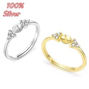 BITWBI autentyczne S925 srebro kolor otwarty pierścień pusty baza Fit Pearl szkło akcesoria do wyrobu biżuterii kobieta mężczyzna prezent