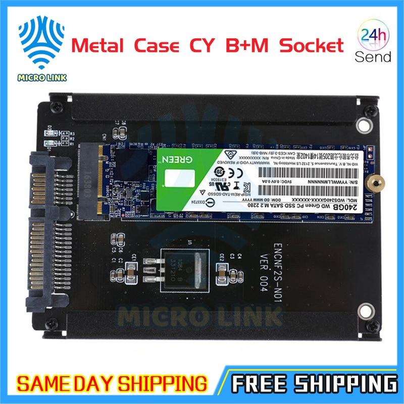 Металлический Чехол CY B + M Socket 2 M.2 NGFF (SATA) SSD к 2,5 SATA адаптер для 2230/2242/2260/2280 мм M2 NGFF SSD твердотельный жесткий диск