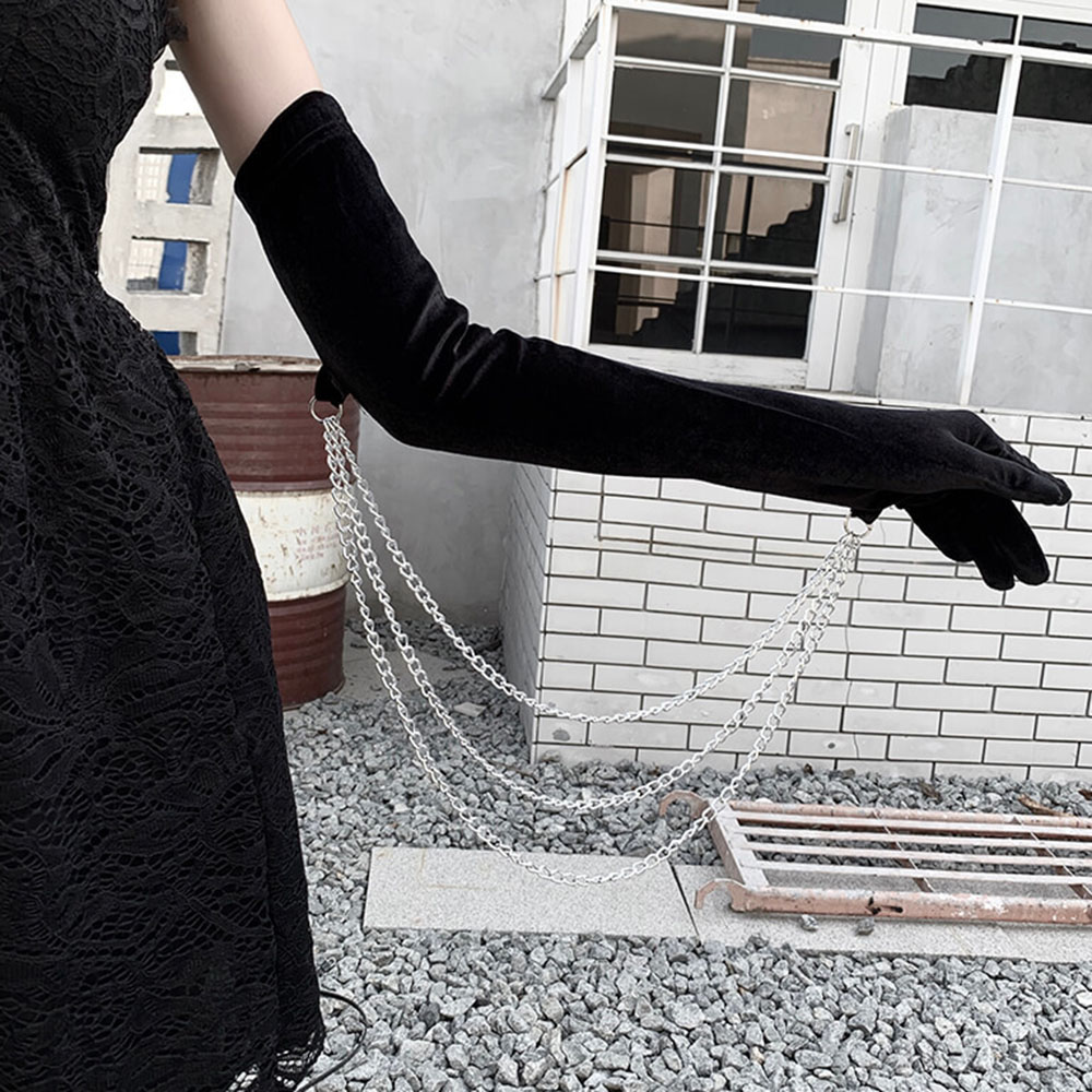 Full Finger Gloves Elegant Women Gloves Winter Warm Mittens Metal Chain Gothic Dark Harajuku Party Sexy Black Long Velvet Mitten