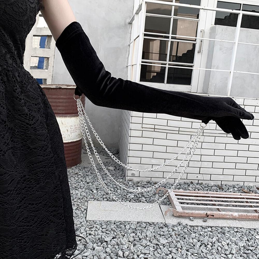 Full Finger Gloves Elegant Women Gloves Winter Warm Mittens Metal Chain Gothic Dark Harajuku Party Sexy Black Long Velvet Mitten