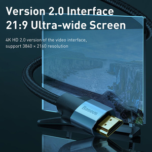 Image 3 - Baseus HDMI כבל 4K זכר לזכר HDMI 2.0 כבל עבור PS4 מקרן טלוויזיה אודיו וידאו HDMI חוט כבל דיגיטלי ספליטר מתג 5m 3m
