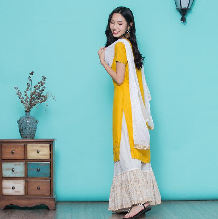 Woman Fashion Ethnic Styles Sets Cotton Embroidery India Kurtas Short Sleeves Long Yellow Thin Top Skirt