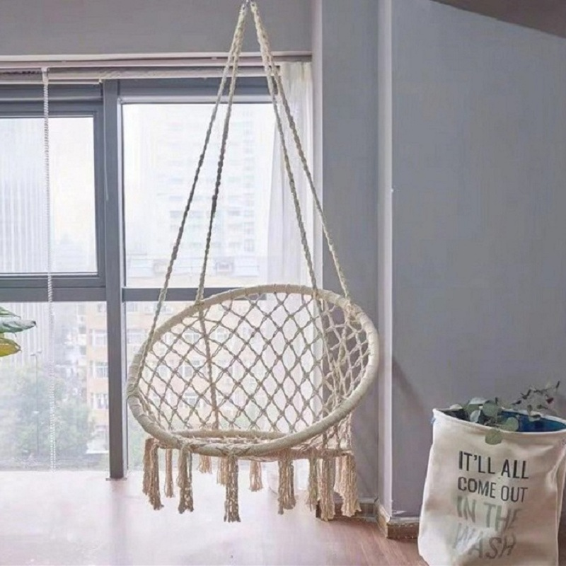 Hanging Chair Indoor Cotton Rope Woven Basket  Tassel Hammock Swing