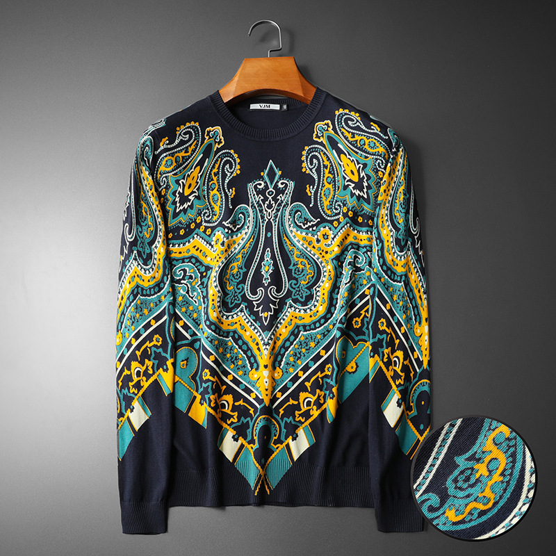 New 19 Men Luxury Winter Classic Abstract Flower Embroidered Casual Sweaters Pullover Asian Plug Size High Quality Drake #N113