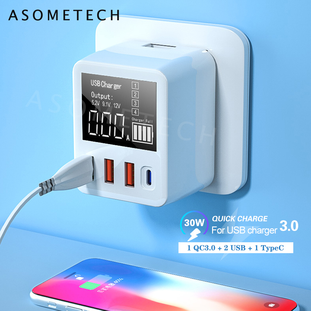 30W Quick Charge QC3.0 USB Charger Wall Travel Mobile Phone Adapter Fast Charger USB Charger For IPhone Xiaomi Huawei Samsung