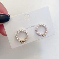 MENGJIQIAO 2020 mode coréenne mignon simulé perle nœud papillon cercle boucles d'oreilles pour les femmes doux rond Bijoux Oorbellen cadeaux