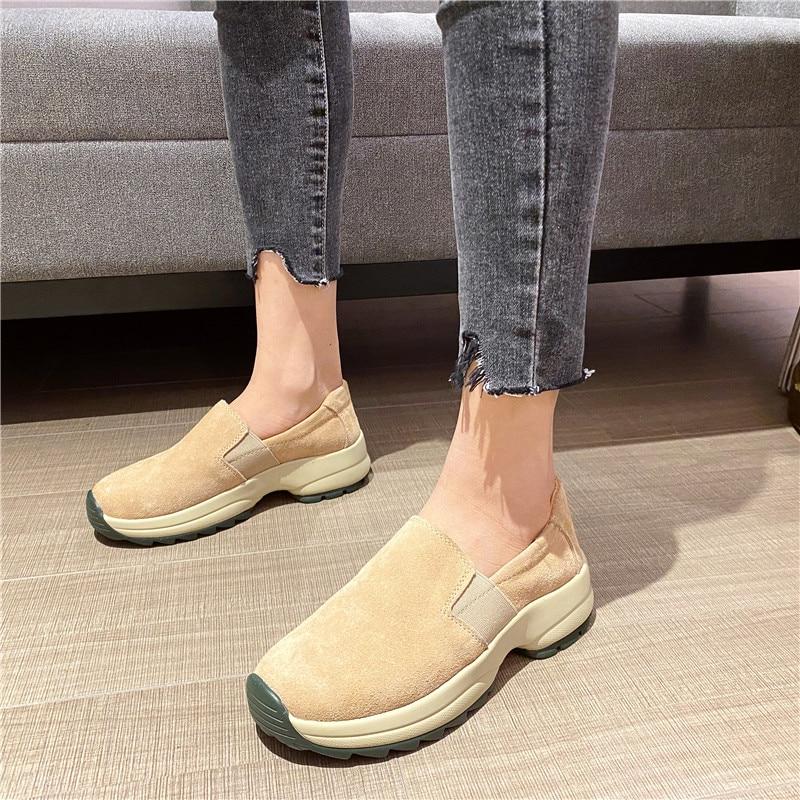 Comfort Platform Loafers Women Beige Black Fashion Spring Leather Slip On Pointed Toe Flats Plus Size 35-43 Shoes Handmade 2021