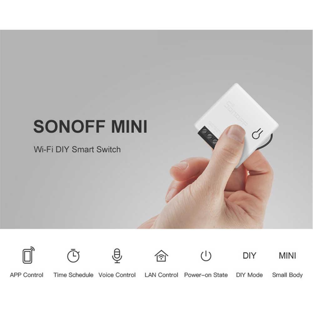 SONOFF MINI DIY двухсторонний умный переключатель маленький корпус пульт дистанционного управления WiFi переключатель Поддержка внешнего переключателя работа для переключатели Новый