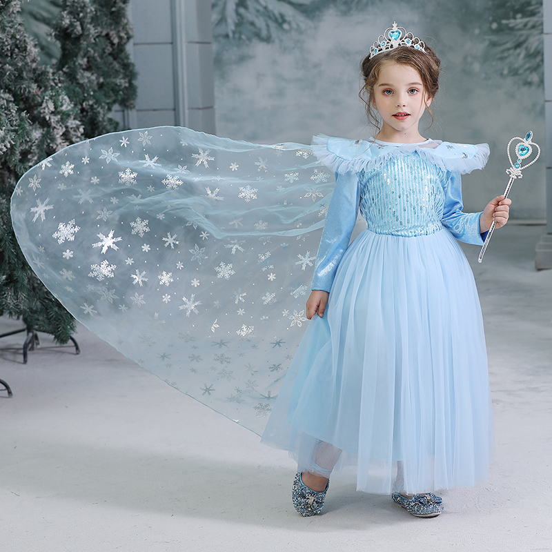 Halloween Anna Elsa Costume For Girls Snowflake Print Winter Long Sleeves Princess Party Cosplay Clothes Kids Vestido 4-10Yrs