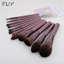 Набор кистей для макияжа с деревянной ручкой 12 шт