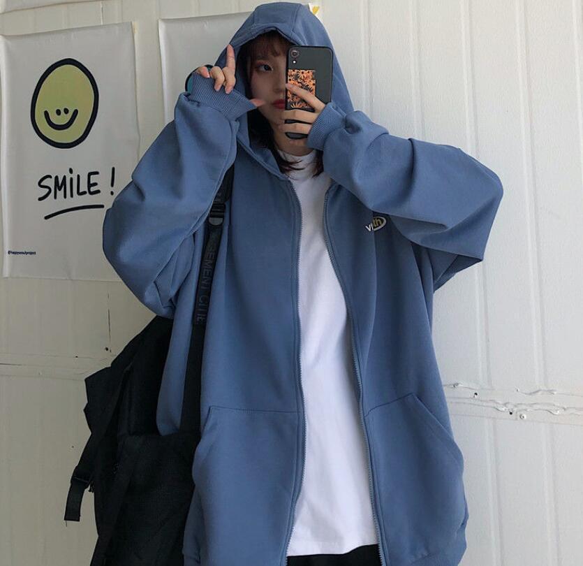 Harajuku Zip Up Sweatshirts Women Hoodies Korean Oversized Thin Clothes Plus Size Loose Casual Solid Color Shirt Long Sleeve Top 14
