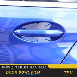 Dla BMW serii 3 G20 2020 Car Styling drzwi miska ochraniacz na nadgarstek Film etui z tpu naklejki wykończeniowe akcesoria zewnętrzne Naklejki samochodowe    -