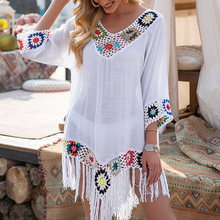 White Bikini Cover Up With Tassel Women Sexy Hollow Tunic Beach Dress 2021 Summer Bathing Suit Beachwear Floral Hollow Swimsuit