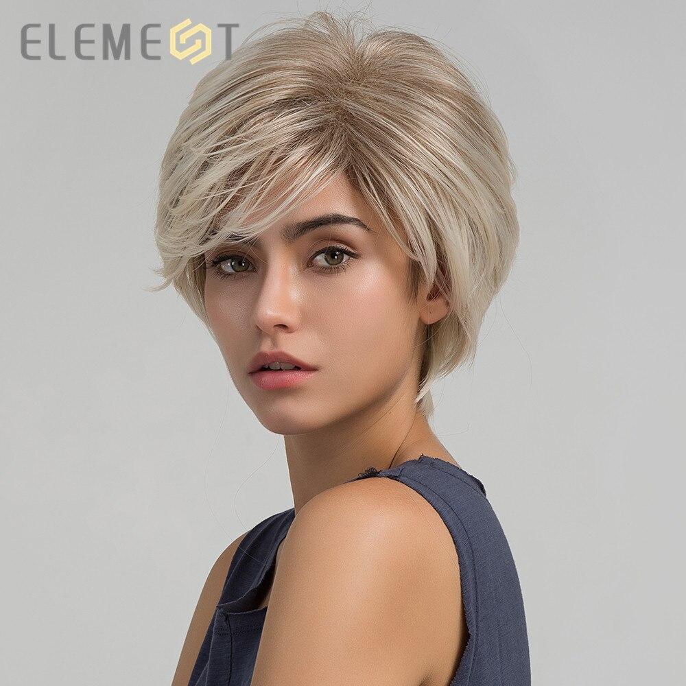 Elemento curto reta ombre luz marrom para loira cor pixie sintético corte perucas para branco/preto feminino diário wear