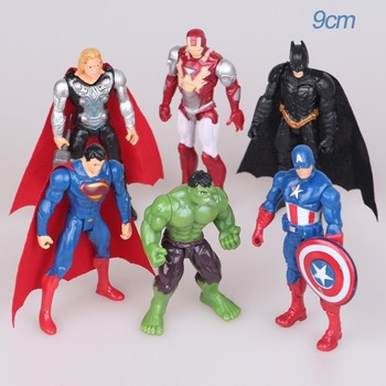 6Pcs/Sets Avengers Marvel Captain America Thor Superman Hulk Iron Man Action Garage Kit Doll Toys for Children Adults the avengers arrow cufflinks marvel captain america thor batman iron man deadpool charm personality shirt brand cuff button gift