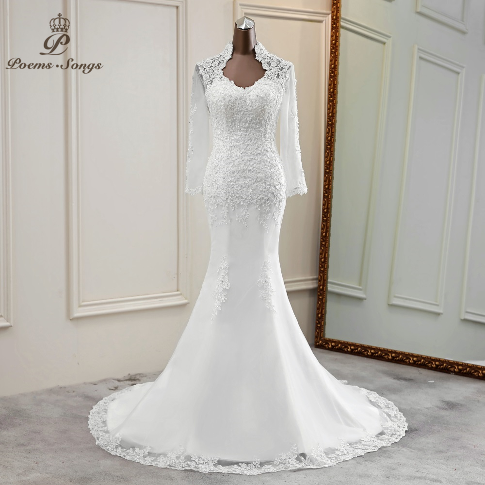 2020 New Elegant Long Sleeve Wedding Dress Mermaid Marriage Dress Robe De Mariee Vestido De Noiva Sereia Wedding Gowns