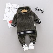 ملابس طفل صغير الرضع طفل الفتيان الصلبة طويلة الأكمام هوديي القمم Sweatsuit السراويل الاطفال الزي مجموعة (1 4 سنوات)
