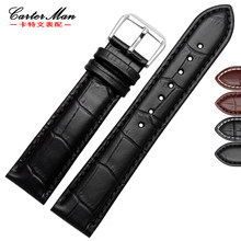 Pin buckle watchband cowhide leather strap men and women bracelet 12 14 16 18 20 22mm black brown universal wrist belt(China)