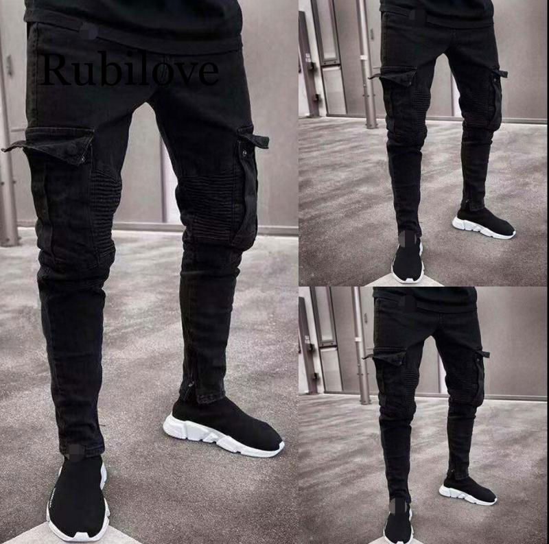 2020 Fashion Black Jean Men Denim Skinny Biker Jeans Destroyed Frayed Slim Fit Pocket Cargo Pencil Pants Plus Size S-3XL