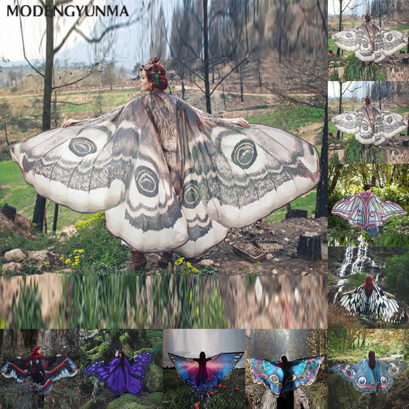 Women Butterfly Wings Pashmina Shawl Scarf Nymph Pixie Poncho Costume Accessory Summer Printed Beach Towel Fashion Lady Clothes