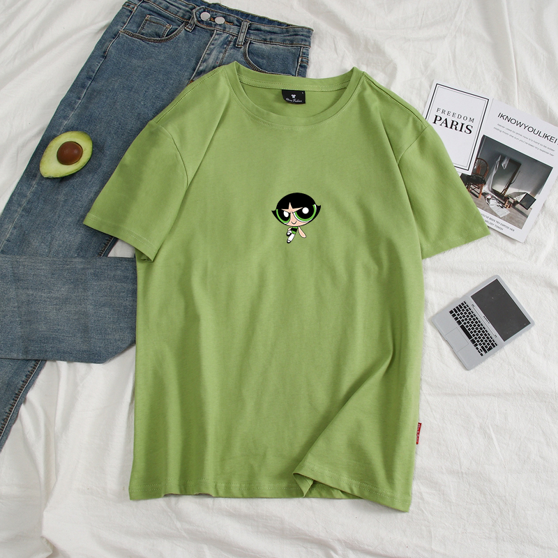 Новинка 2020, Kawaii, топы Powerpuff, футболка для девочек, полиция Харадзюку, уличная одежда, Забавные футболки с мультяшным принтом, женская модная о...