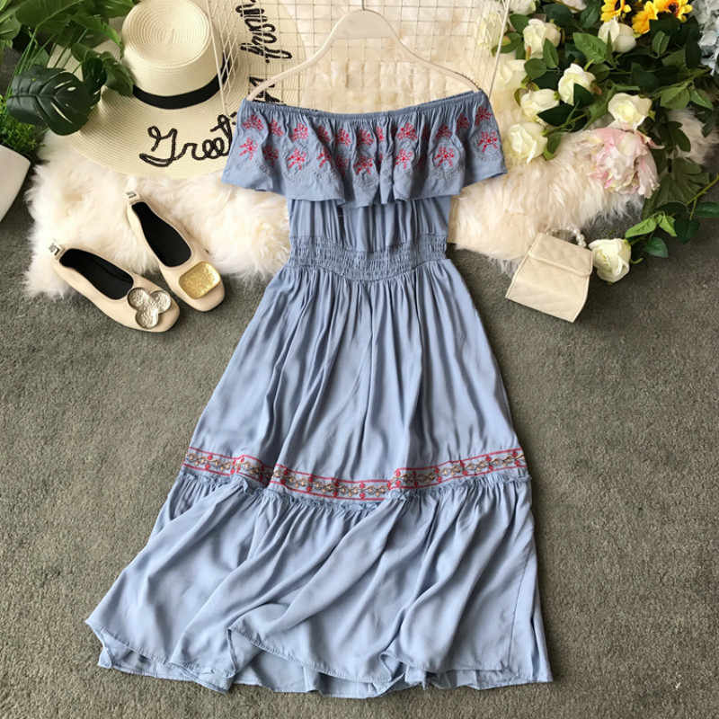 Elegante Boho Sommer Kleid Frauen Kleidung Vintage Floral Casual Off Schulter Lange Bodycon Strand Party Kleider Vestidos LW406