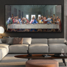 Famous Painting Art Canvas Paintings Leonardo Da Vinci's The Last Supper Posters and Print Wall Art Pictures for Room Home Decor