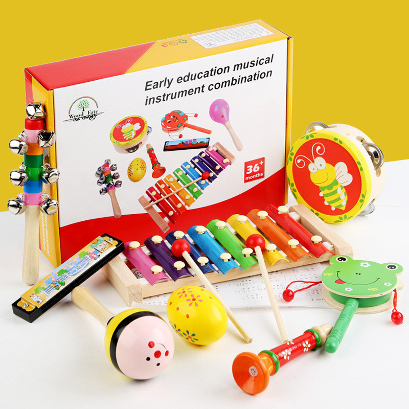 Early Education Kids Toy Infant Musical Instruments Eight Sets Percussion Instruments Combination Cognitive Ability Wooden Toys