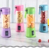 380 ml mini usb recarregável portátil espremedor de frutas elétrico smoothie maker liquidificador máquina esportes garrafa 4 lâminas afiadas|Espremedores| |  -