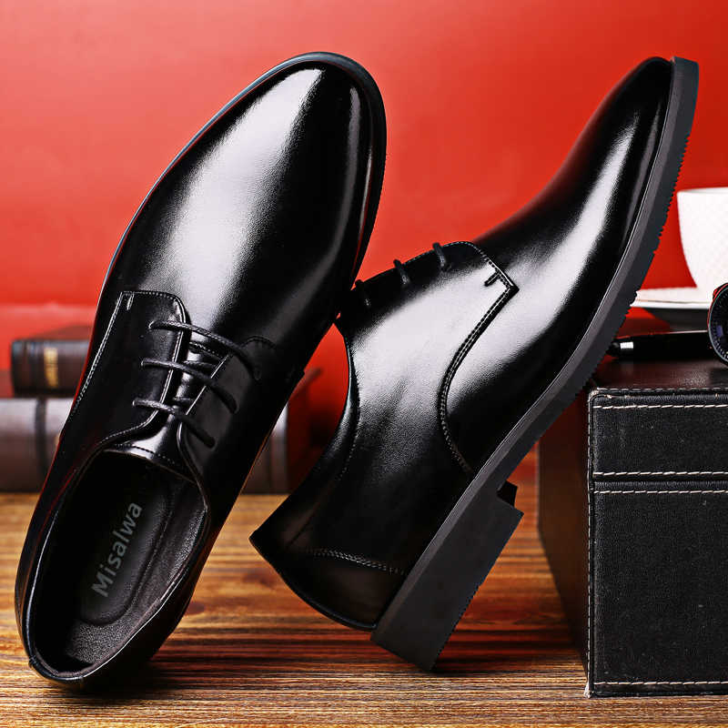 Misalwa 5 سنتيمتر مصعد الرجال فستان أحذية بسيطة جودة الرجال ديربي الأحذية الدانتيل متابعة ماركة الرجال الأحذية الرسمية الرجال الجلود أحذية الزفاف