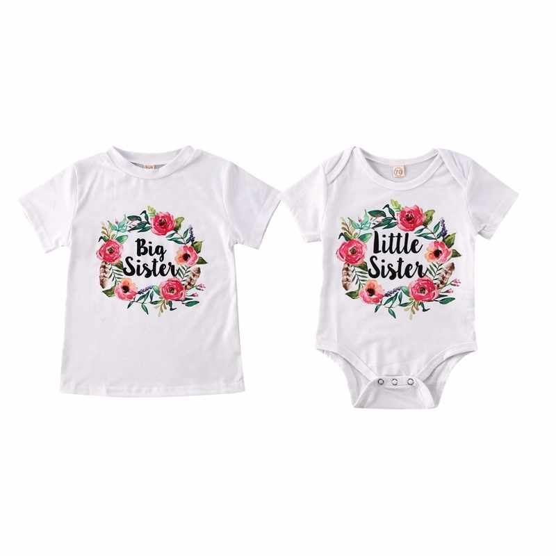 New Big/Little Sister Matching Newborn Baby Girl Boys Clothes Cotton Flowers Letter Print Short Sleeve Romper T Shirts
