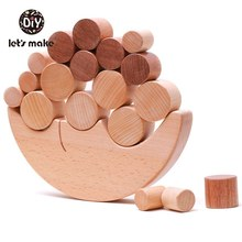 Let's Make 1set Baby Toys Wooden Blocks Cartoon Moon Wood Constructor Building&Construction Toy Arcoiris Montessori for Children(China)