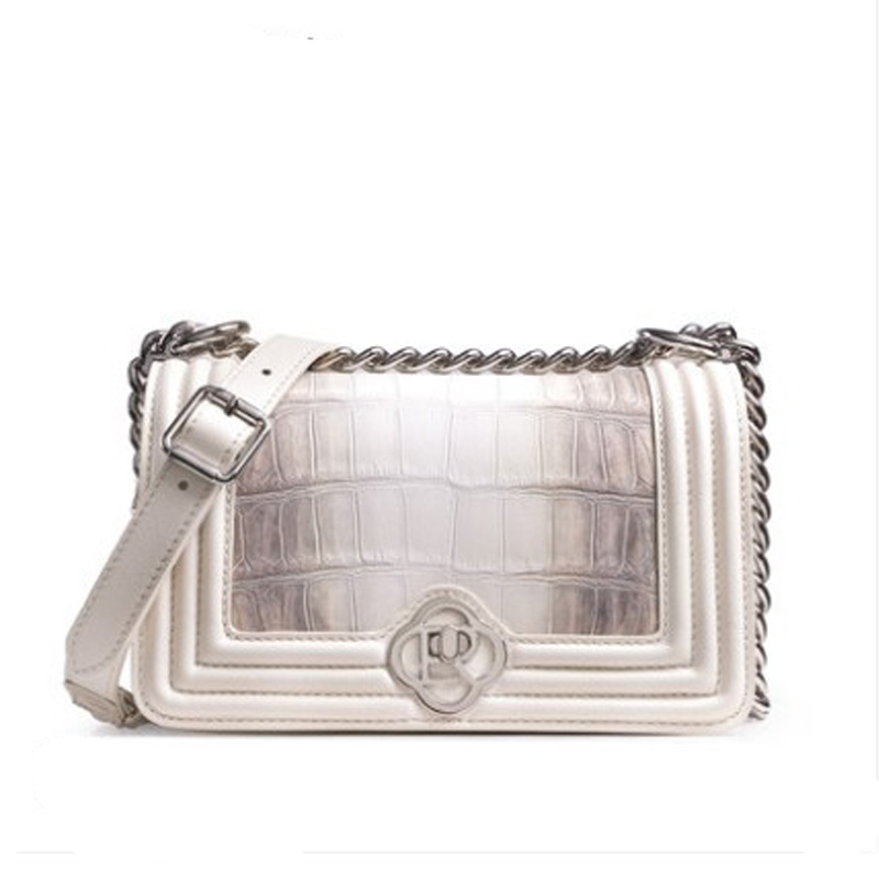 ouluoer Imported crocodile skin  Small square bag white leather one-shoulder cross-slung small bag light luxury niche versatile